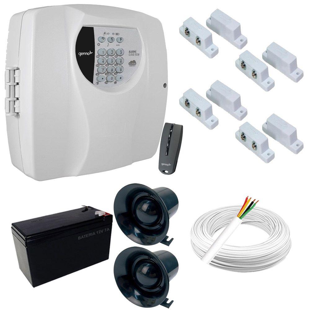 Kit Alarme Residencial Central Genno Cloud 10EW 10 Zonas + 4 Sensores Magnéticos com fio  - Tudoseg Cftv - Sistemas de Segurança Eletrônica