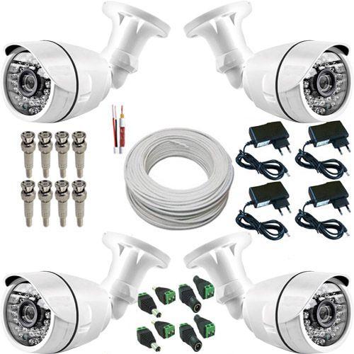 Kit Básico 4 Câmeras de Segurança 30 Leds Infravermelho com Resolução em AHD 1.3 Mp  - Tudoseg Cftv - Sistemas de Segurança Eletrônica