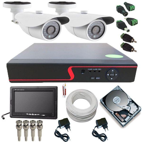 Kit CFTV 2 Câmeras AHD 1.3 Megapixel 36 Leds Infravermelho DVR Multi HD 4 Canais + Monitor  - Tudoseg Cftv - Sistemas de Segurança Eletrônica