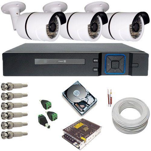Kit Cftv 3 Câmeras Infravermelho AHD 1.3 Megapixel 720p DVR Multi HD 4 Canais - Acesso Via Celular  - Tudoseg Cftv - Sistemas de Segurança Eletrônica