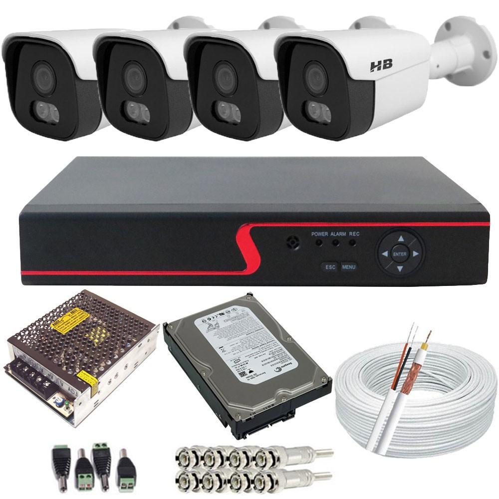 Kit Cftv 4 Câmeras de Segurança HBtech Full HD 2.0 Mp 1080p Starcolor - Imagens Coloridas no Escuro  - Tudoseg Cftv - Sistemas de Segurança Eletrônica