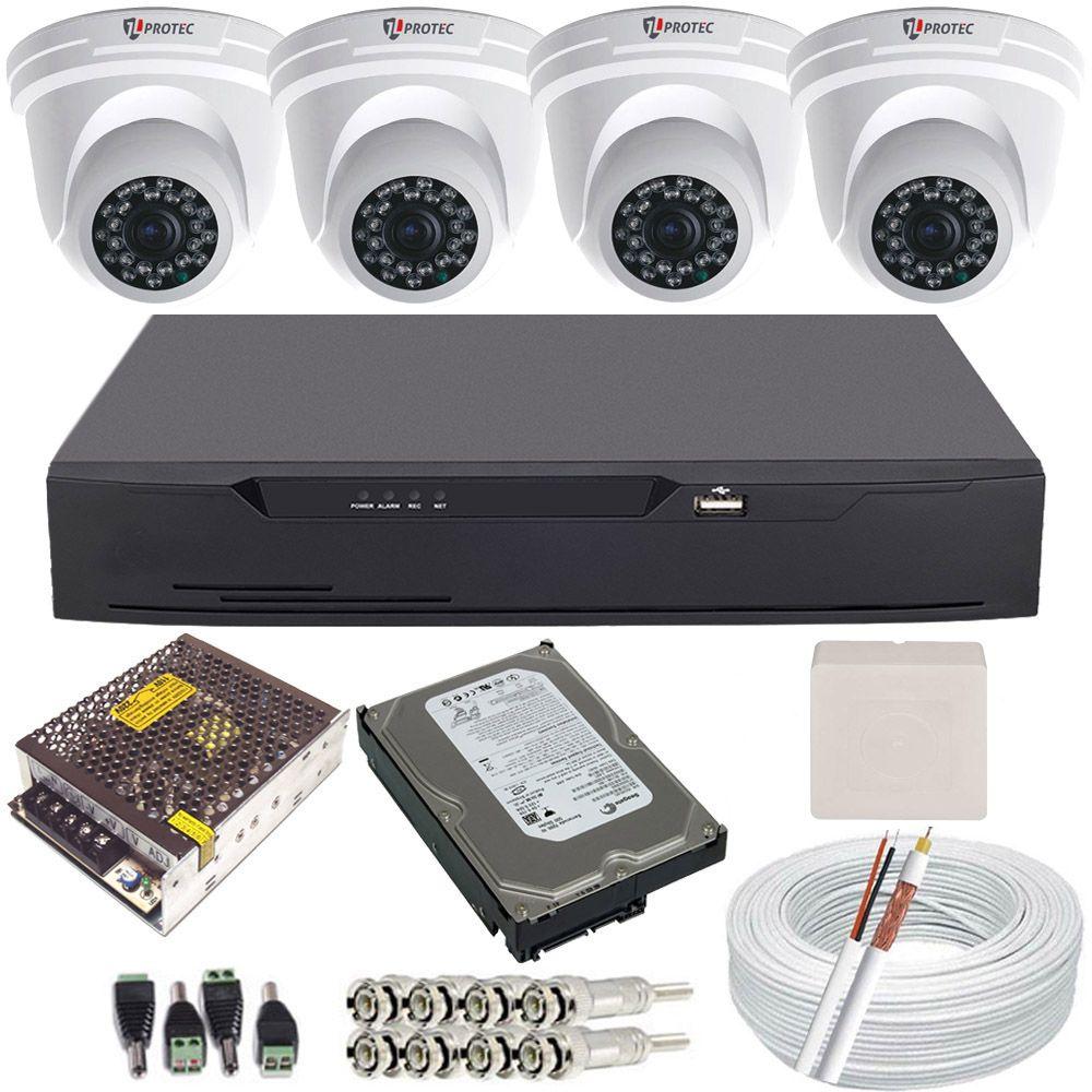 Kit Cftv 4 Câmeras Infravermelho Dome Full HD 2.0 Megapixel 1080p + Gravador Dvr 4 Canais Full HD  - Tudoseg Cftv - Sistemas de Segurança Eletrônica