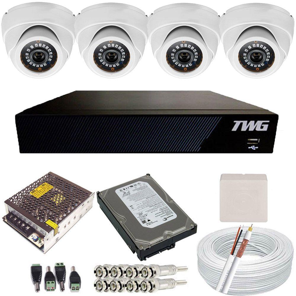 Kit Cftv 4 Câmeras Infravermelho Dome Full HD 2.0 Megapixel 1080p + Gravador Dvr TWG 4 Canais  - Tudoseg Cftv - Sistemas de Segurança Eletrônica