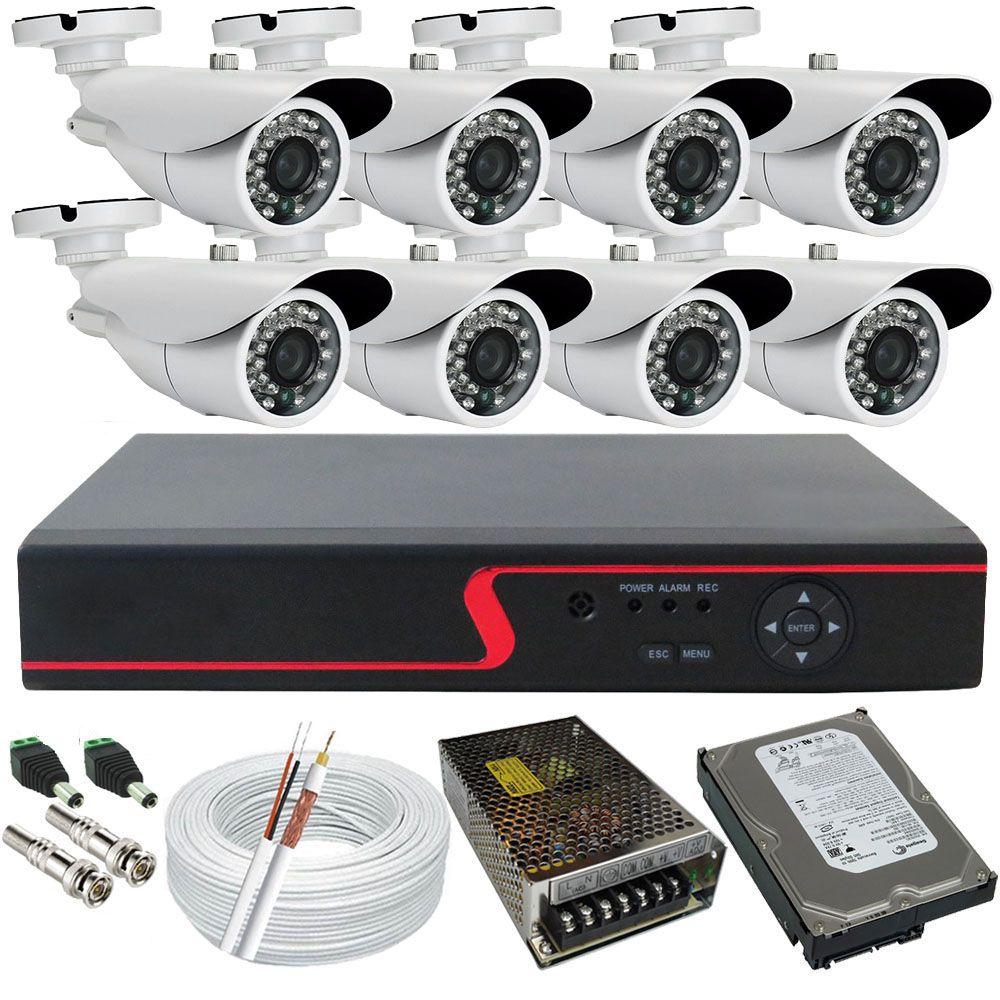 Kit Completo 8 Câmeras de Monitoramento Infravermelho com Gravador Dvr Stand Alone Acesso Nuvem P2P  - Tudoseg Cftv - Sistemas de Segurança Eletrônica