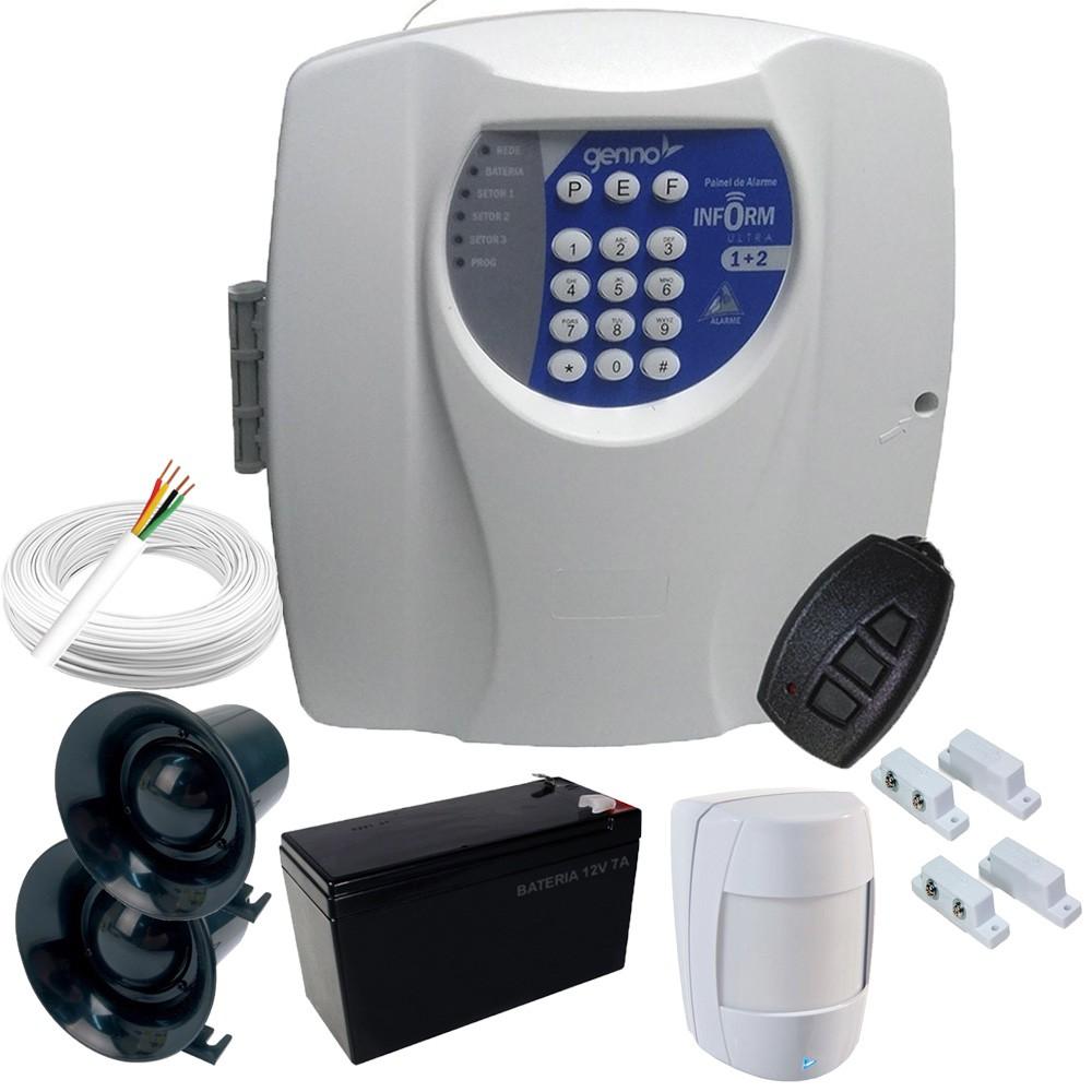 Kit de Alarme Básico Genno Central Inform Ultra 1+2 Com 3 Sensores Com fio + Acessórios  - Tudoseg Cftv - Sistemas de Segurança Eletrônica