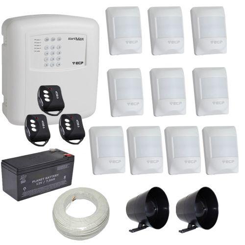 Kit de Alarme ECP Central Alard Max 1 + 10 Sensores Infravermelho Pet 20Kg  - Tudoseg Cftv - Sistemas de Segurança Eletrônica