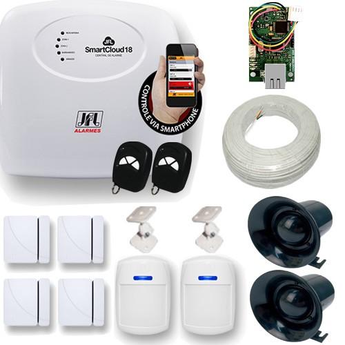 Kit Alarme Residencial e Comercial JFL 1 Central Smart Cloud 18 Zonas + 6 Sensores   - Tudoseg Cftv - Sistemas de Segurança Eletrônica