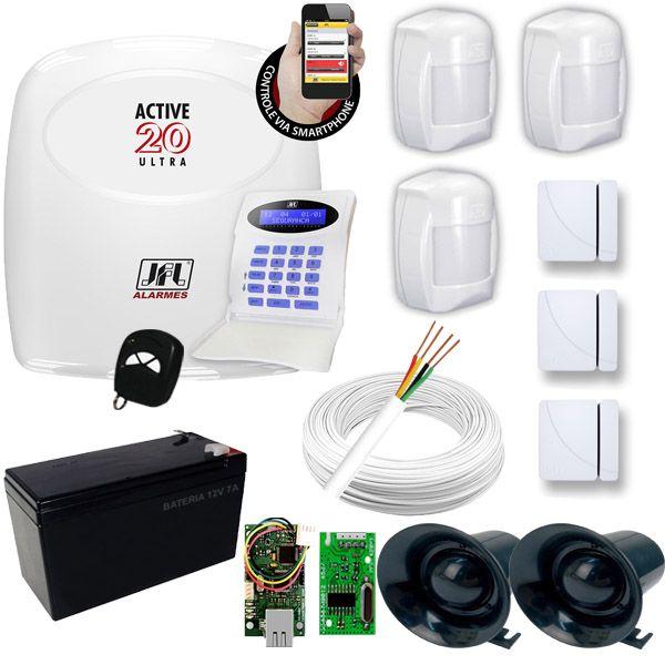 Kit de Alarme Residencial e Comercial JFL com 1 Central Active 20 Ultra Monitorada + 6 Sensores  - Tudoseg Cftv - Sistemas de Segurança Eletrônica