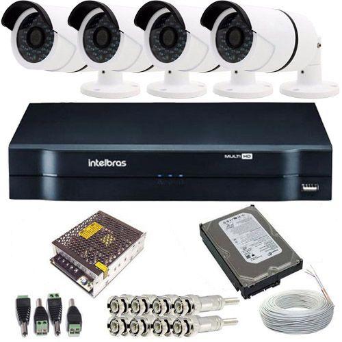 Kit de Monitoramento 4 Câmeras 36 leds Infravermelho AHD 1.3 Megapixel + DVR Intelbras 4 Canais  - Tudoseg Cftv - Sistemas de Segurança Eletrônica