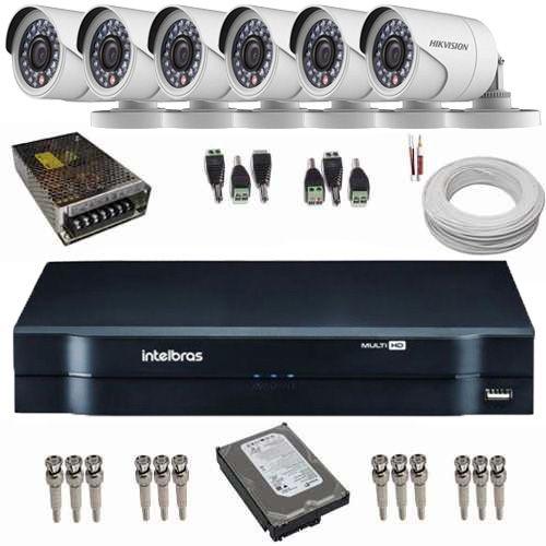 Kit de Monitoramento 6 Câmeras Full HD 1080p 2.0 Mp 42 Leds Infra + DVR Intelbras  - Tudoseg Cftv - Sistemas de Segurança Eletrônica