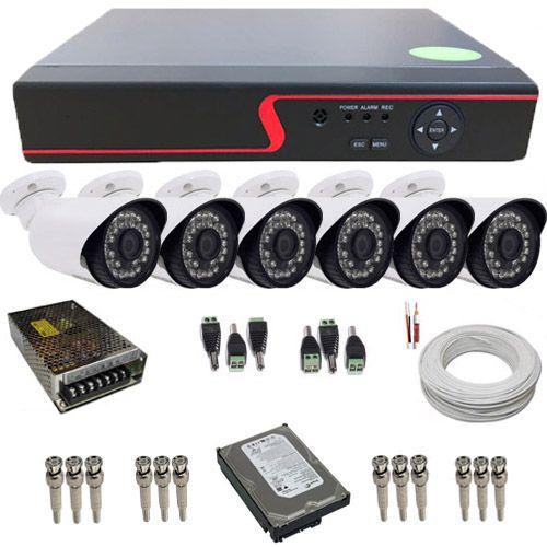 Kit de Monitoramento 6 Câmeras Full HD 2.0 Megapixel 1080p DVR Multi HD 8 Canais  - Tudoseg Cftv - Sistemas de Segurança Eletrônica