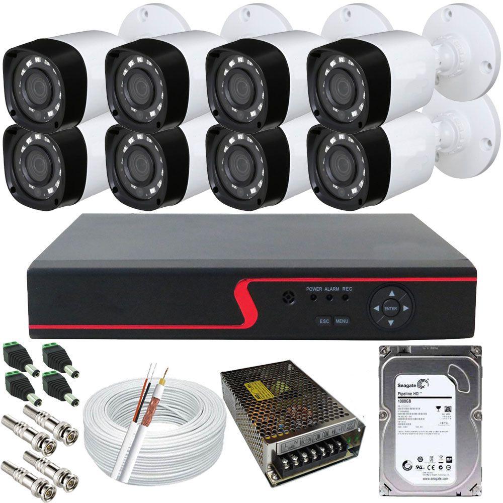 Kit de Monitoramento 8 Câmeras Infravermelho Full HD 2 Megapixel 1080p + DVR Com Acesso Via Celular  - Tudoseg Cftv - Sistemas de Segurança Eletrônica