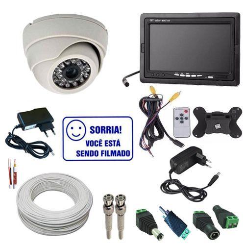 Kit de Monitoramento com 1 Câmera Infravermelho Analógica 1000 Linhas + Monitor 7 Polegadas  - Tudoseg Cftv - Sistemas de Segurança Eletrônica