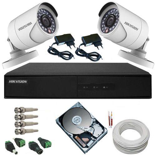 Kit Monitoramento Hikvision 2 Câmeras HD 1.0 Megapixel 720p DVR Stand Alone 4 Canais - Alta Definição  - Tudoseg Cftv - Sistemas de Segurança Eletrônica