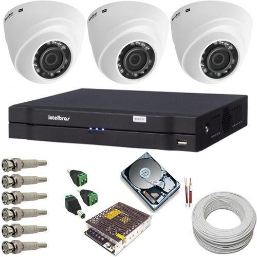 Kit de Monitoramento Intelbras 3 Câmeras Dome 1010D 1 Megapixel Infravermelho DVR 4 Canais Multi HD  - Tudoseg Cftv - Sistemas de Segurança Eletrônica