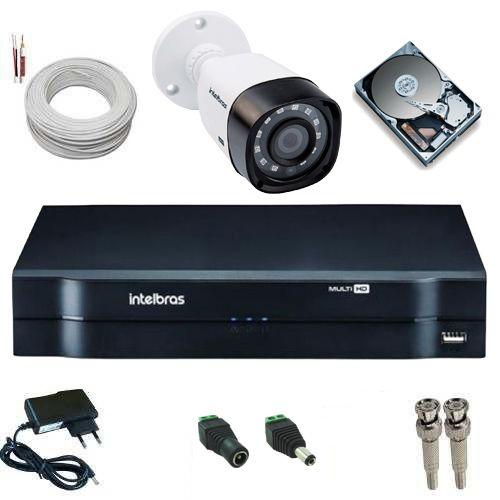 Kit Monitoramento Intelbras Câmera 1010B Infravermelho 1 Megapixel 720p + DVR MHDX 1104 Multi HD  - Tudoseg Cftv - Sistemas de Segurança Eletrônica