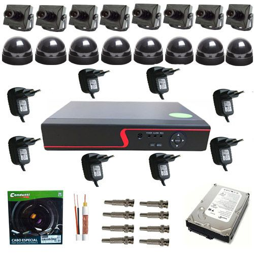 Kit DVR 8 Micro Câmeras de Monitoramento com Gravador Stand Alone - Acesso via Internet  - Tudoseg Cftv - Sistemas de Segurança Eletrônica