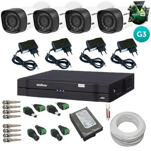 Kit Intelbras 4 Câmeras 3120B Multi HD 1.0 Mp Geração 4 + Dvr Multi HD 4 Canais  - Tudoseg Cftv - Sistemas de Segurança Eletrônica