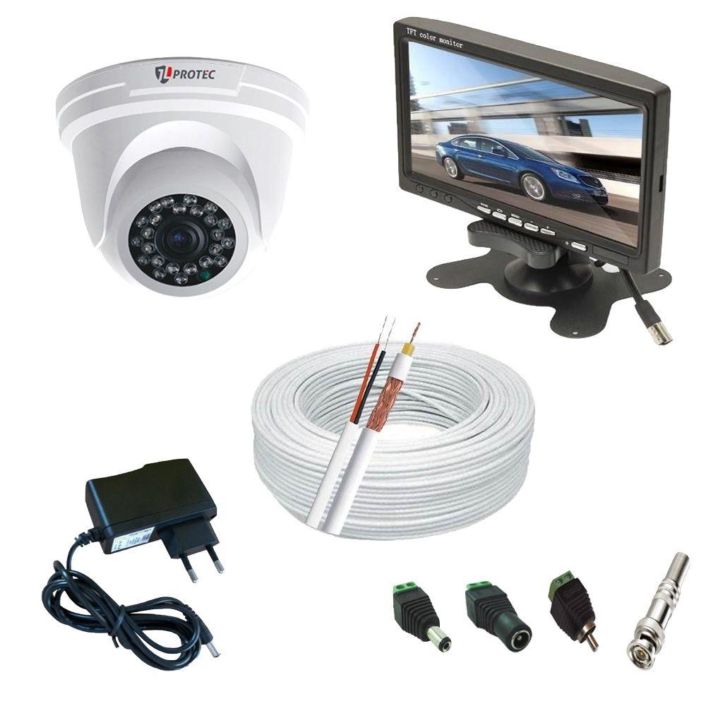 Kit Monitoramento 1 Câmera Dome Infravermelho Full HD 1080p 2 Megapixel + Monitor 7 Polegadas  - Tudoseg Cftv - Sistemas de Segurança Eletrônica