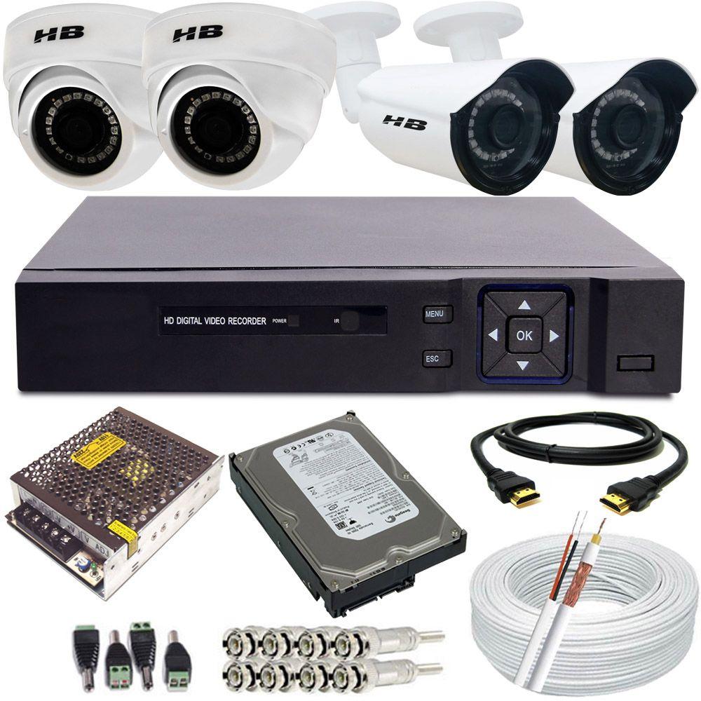 Kit Monitoramento 2 Câmeras Bullet Full HD 2.0 Mp + 2 Câmeras Dome Full HD 2.0 Mp DVR 4 Canais Acesso p2p  - Tudoseg Cftv - Sistemas de Segurança Eletrônica