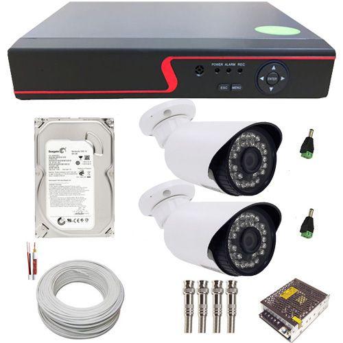 Kit Monitoramento 2 Câmeras infravermelho Full HD 2 Megapixel 1080p + DVR Stand Alone 4 Canais  - Tudoseg Cftv - Sistemas de Segurança Eletrônica
