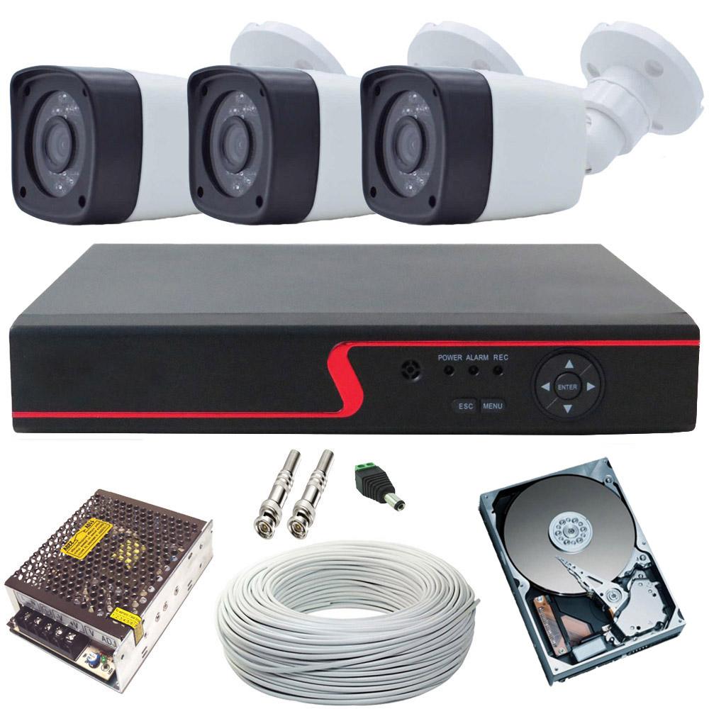 Kit Monitoramento 3 Câmeras Full Hd 2 Megapixel 1080p + DVR 4 Canais   - Tudoseg Cftv - Sistemas de Segurança Eletrônica
