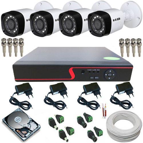 Kit Monitoramento 4 Câmeras Híbridas Infravermelho 720p 1 Megapixel + DVR 4 Canais Multi HD  - Tudoseg Cftv - Sistemas de Segurança Eletrônica