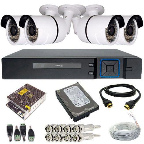 Kit Monitoramento 4 Câmeras Infravermelho HD 1.3 Megapixel DVR 4 Canais Acesso P2p + Cabo HDMI  - Tudoseg Cftv - Sistemas de Segurança Eletrônica