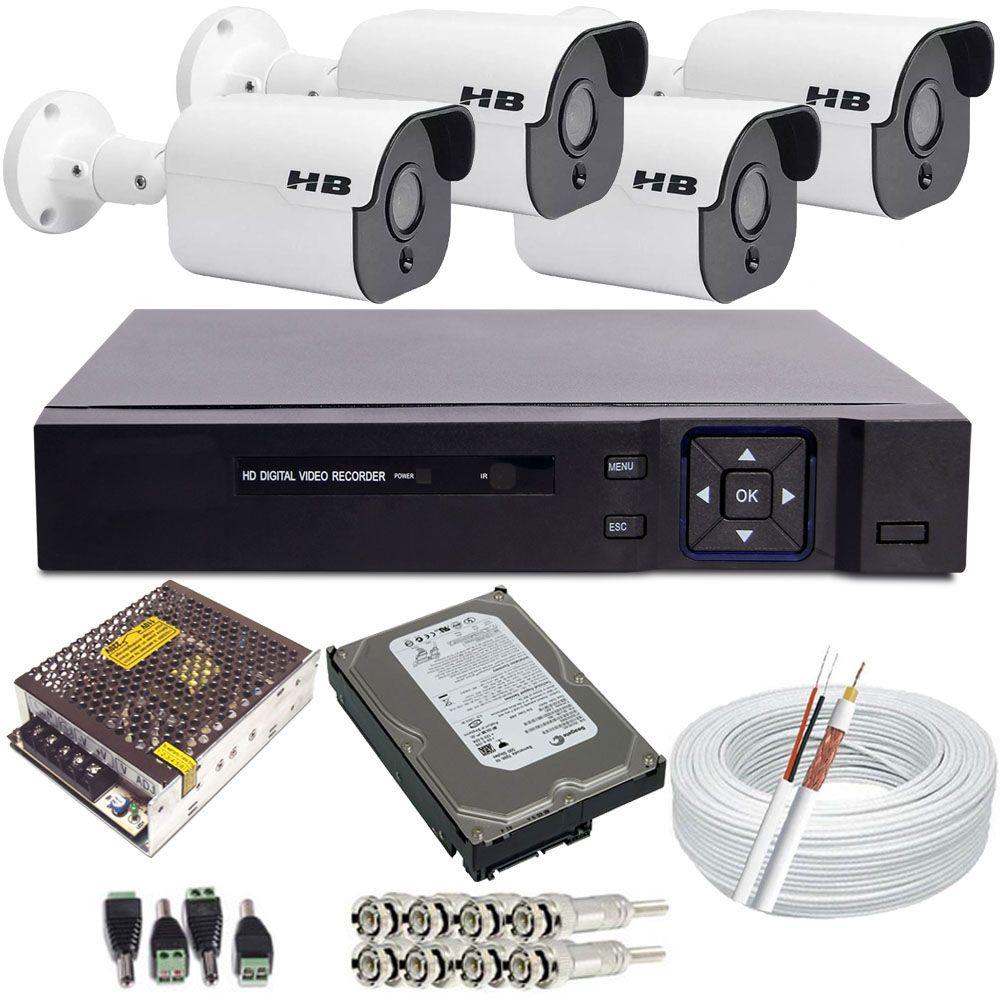 Kit Monitoramento 4 Câmeras Starlight Full HD 1080p 2.0 Megapixel DVR 4 Canais Acesso Nuvem  - Tudoseg Cftv - Sistemas de Segurança Eletrônica