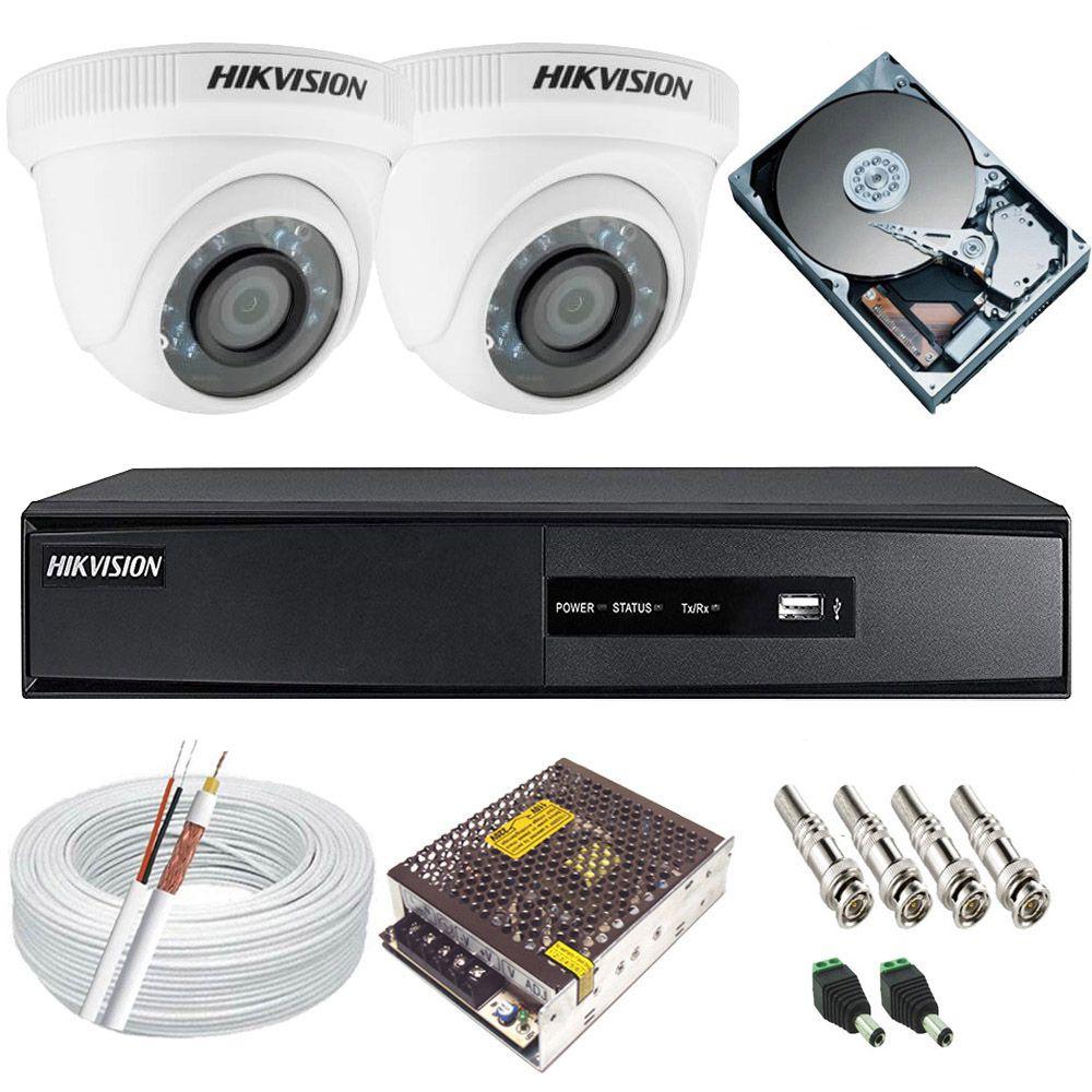 Kit Monitoramento Hikvision 2 Câmeras Full HD 1080p 2.0 Mp + DVR 4 Canais Full HD - Alta Definição  - Tudoseg Cftv - Sistemas de Segurança Eletrônica