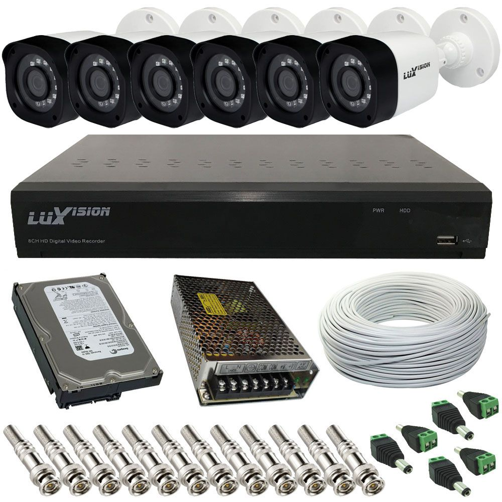 Kit Monitoramento Luxvision 6 Câmeras ECD Digital 1.0 Mp Infravermelho SMD + DVR Luxvision 8 Canais  - Tudoseg Cftv - Sistemas de Segurança Eletrônica