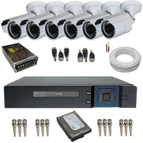 Kit Monitoramento 6 Câmeras Infravermelho AHD + DVR 8 Canais Multi Hd    - Tudoseg Cftv - Sistemas de Segurança Eletrônica
