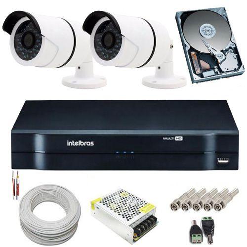 Kit Vigilância 2 Câmeras Infravermelho AHD 1.3 Megapixel 720p DVR Intelbras 4 Canais - Acesso Remoto  - Tudoseg Cftv - Sistemas de Segurança Eletrônica