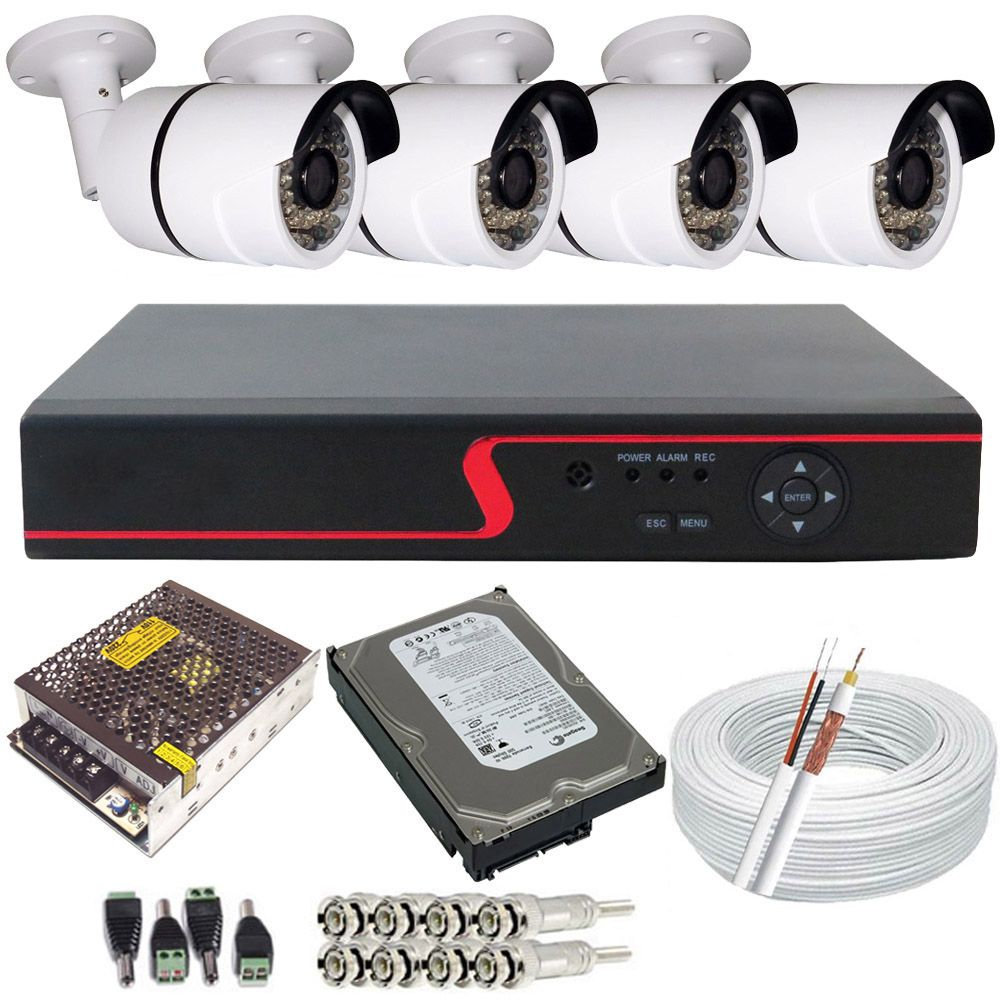 Kit Monitoramento 4 Câmeras Bullet Infravermelho + DVR Stand Alone 4 Canais   - Tudoseg Cftv - Sistemas de Segurança Eletrônica