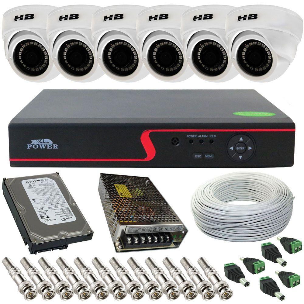 Kit Vigilância 6 Câmeras Dome Híbrida Full HD 2.0 Megapixel 18 Leds SMD + Gravador DVR 8 Canais  - Tudoseg Cftv - Sistemas de Segurança Eletrônica