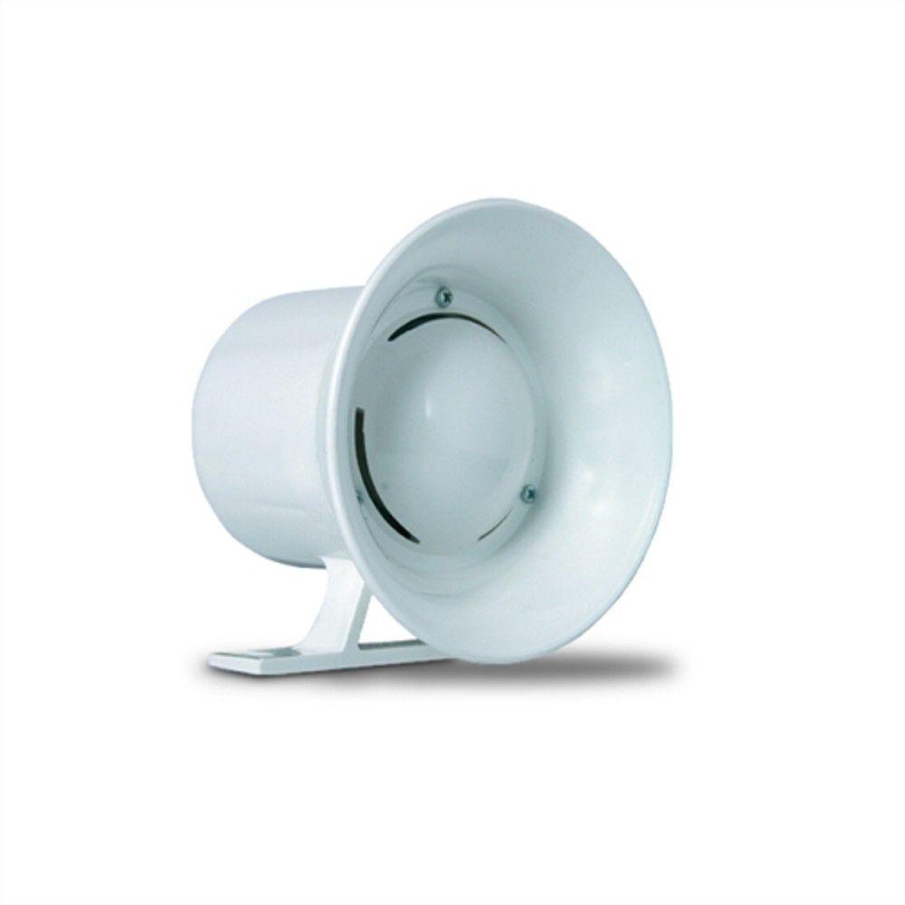 Sirene Para Alarme ou Cerca Elétrica com 1 Tom 120db - Cor Branca  - Tudoseg Cftv - Sistemas de Segurança Eletrônica