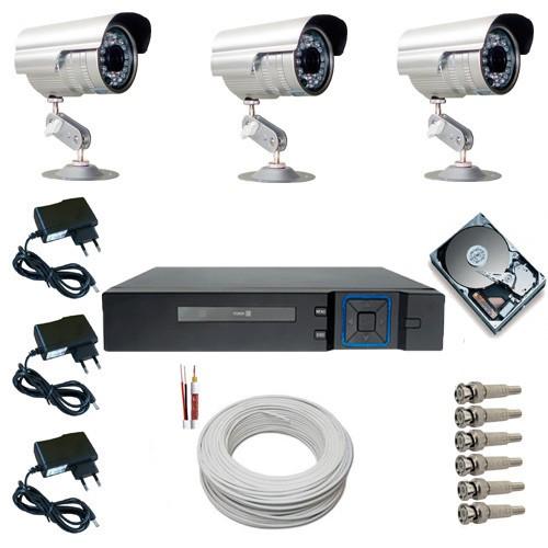 Sistema CFTV Completo com 3 Câmeras Segurança Infravermelho DVR Multi HD 4 canais + HD 250 GB  - Tudoseg Cftv - Sistemas de Segurança Eletrônica