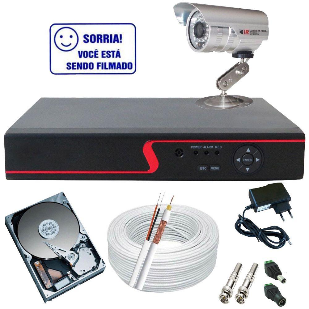 Sistema de Monitoramento 1 Câmera Analógica 1000 linhas infravermelho DVR Stand Alone Multi HD  - Tudoseg Cftv - Sistemas de Segurança Eletrônica