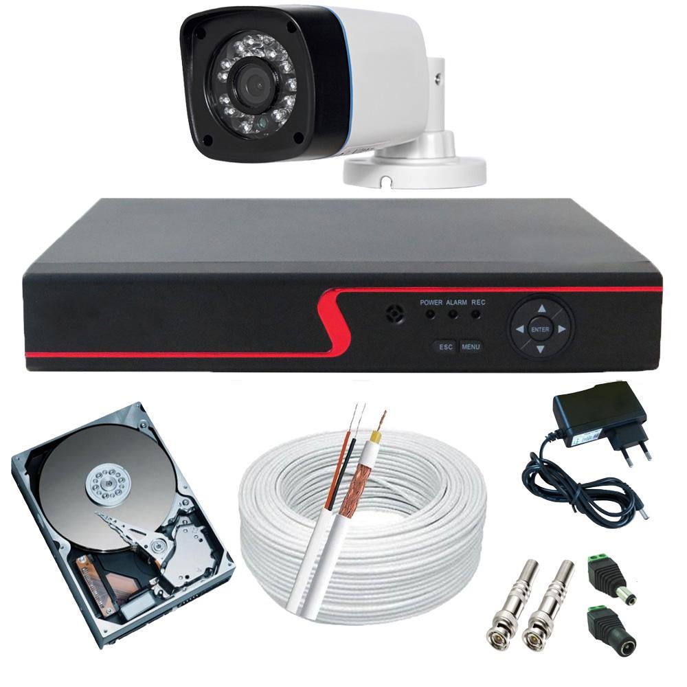 Sistema de Monitoramento 1 Câmera Digital 1.0 Megapixel Infravermelho DVR Stand Alone Multi HD  - Tudoseg Cftv - Sistemas de Segurança Eletrônica