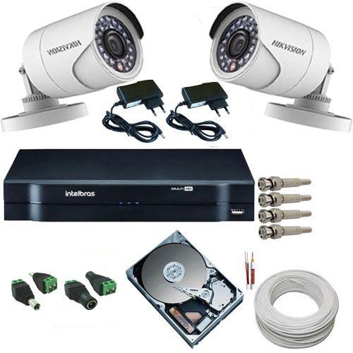Sistema de Monitoramento 2 Câmeras Hikvision Full HD 1080p 2.0 Mp + DVR Intelbras 4 Canais  - Tudoseg Cftv - Sistemas de Segurança Eletrônica