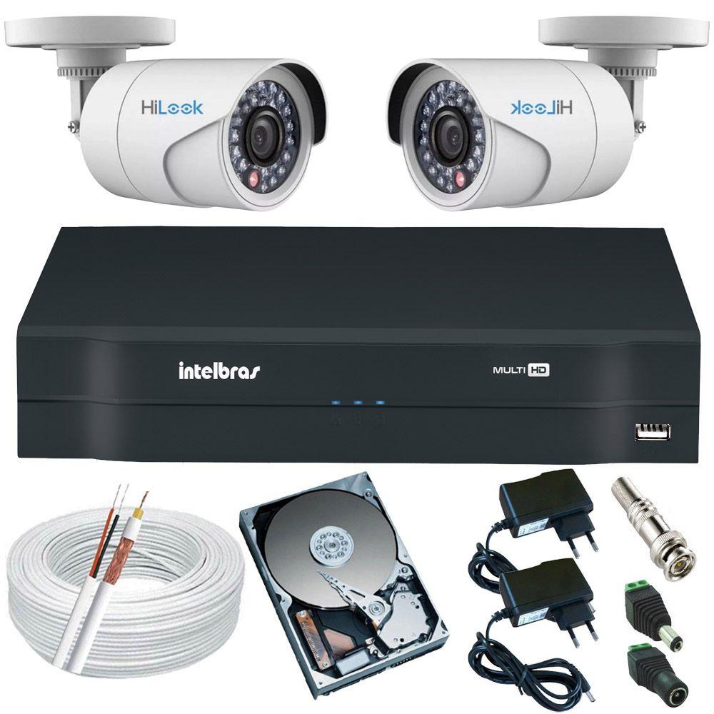 Sistema de Monitoramento 2 Câmeras Hilook Full HD 1080p 2.0 Mp + DVR Intelbras 4 Canais  - Tudoseg Cftv - Sistemas de Segurança Eletrônica