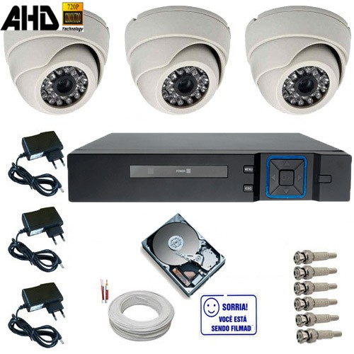 Sistema de Monitoramento 3 Câmeras Infravermelho AHD 1.0 Mp 720p + DVR 4 Canais Acesso Via Celular  - Tudoseg Cftv - Sistemas de Segurança Eletrônica