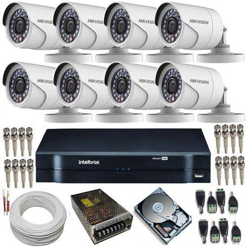 Sistema de Monitoramento 8 Câmeras Hikvision Full HD 1080p 2 Mp + DVR Intelbras MHDX 1008  - Tudoseg Cftv - Sistemas de Segurança Eletrônica