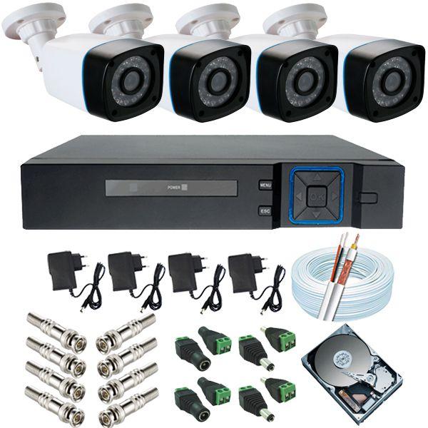 Sistema de Monitoramento completo 4 Câmeras ANKO Digital 1.3 Mp DVR ANKO 4 Canais Acesso P2p  - Tudoseg Cftv - Sistemas de Segurança Eletrônica