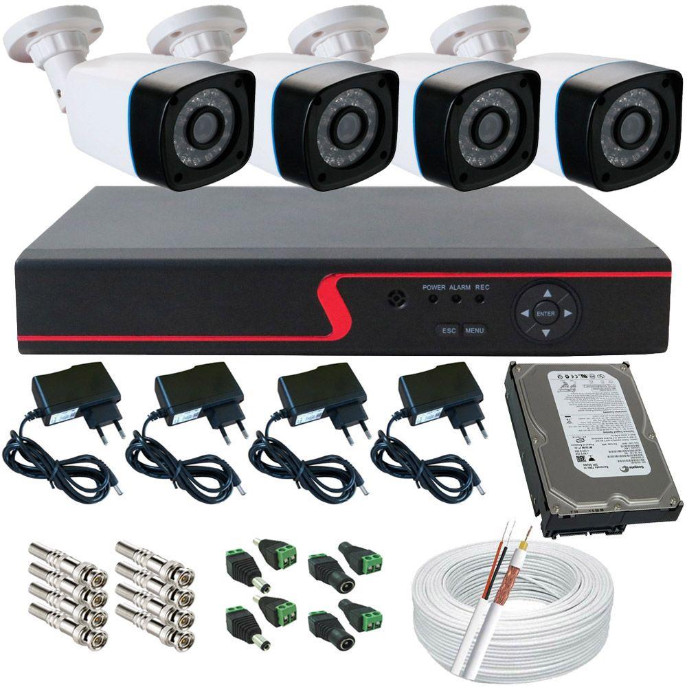 Sistema de Monitoramento Completo 4 Câmeras Digital 1.3 Mp DVR 4 Canais Acesso P2p Cloud  - Tudoseg Cftv - Sistemas de Segurança Eletrônica