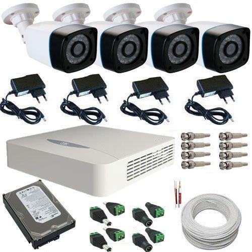 Sistema de Segurança 4 Câmeras Bullet Infravermelho AHD 1.3 Mp 720p - DVR JFL 4 Canais  - Tudoseg Cftv - Sistemas de Segurança Eletrônica