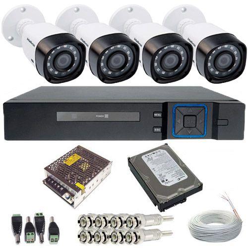 Sistema de Vigilância 4 Câmeras Intelbras 1010B 1 Megapixel 720p DVR 4 Canais - Alta Resolução  - Tudoseg Cftv - Sistemas de Segurança Eletrônica
