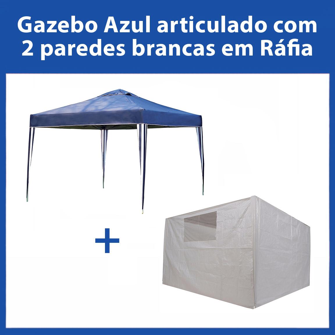 Gazebo 3x3 Articulado Azul em Aço + 2 Paredes Brancas de Ráfia Eleva Mundi