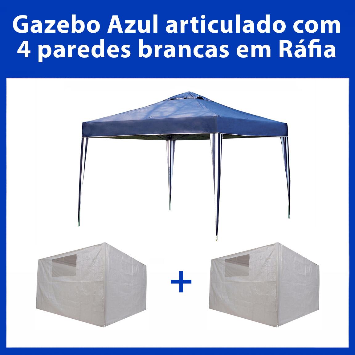 Gazebo 3x3 Articulado Azul em Aço + 4 Paredes Brancas de Ráfia Eleva Mundi