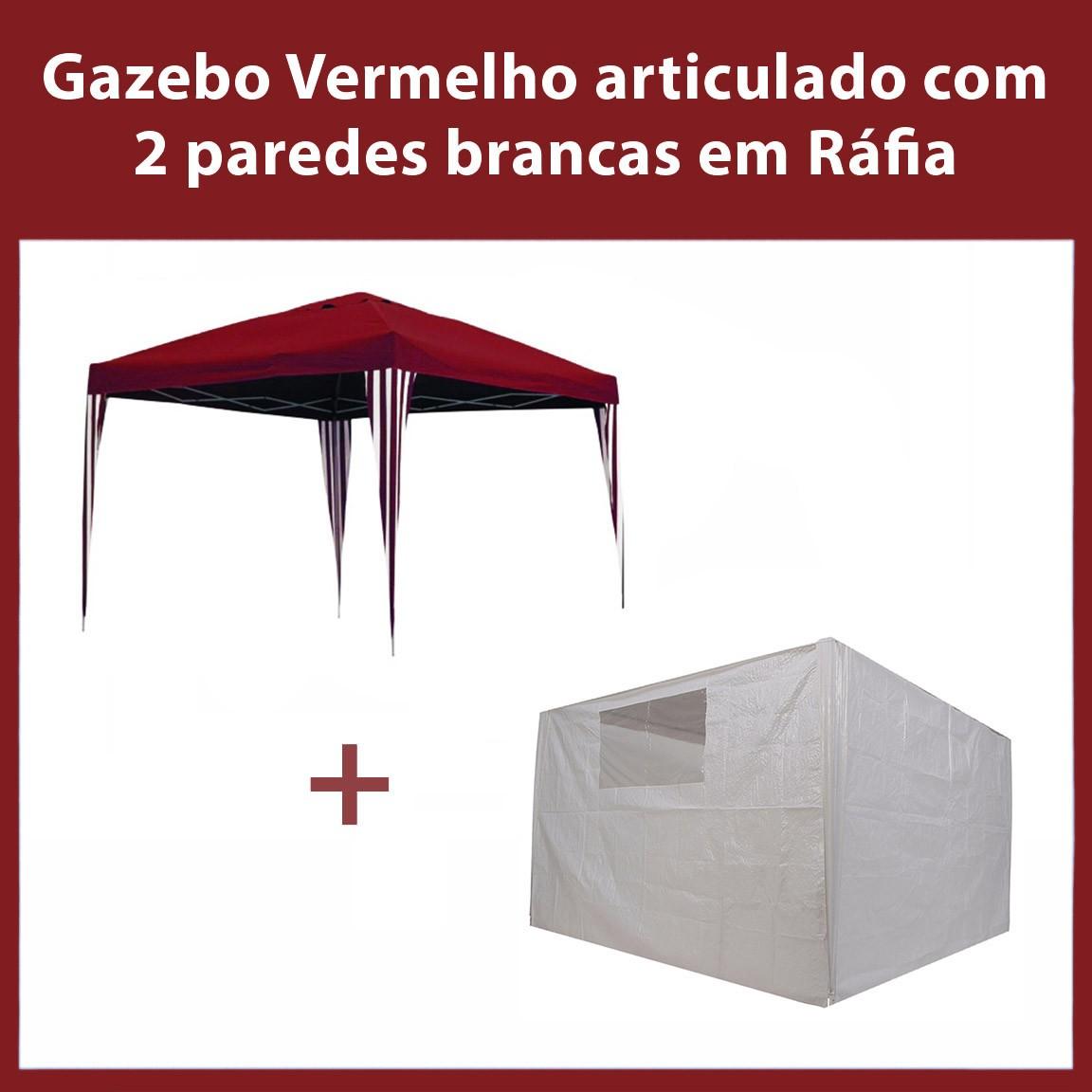 Gazebo 3x3 Articulado Vermelho em Aço + 2 Paredes Brancas de Ráfia Eleva Mundi
